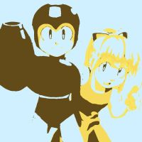 Megaman and Roll pop art 3 by DevintheCool