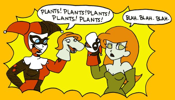 Harley and Ivy: Puppet Pals by foxgirlKira