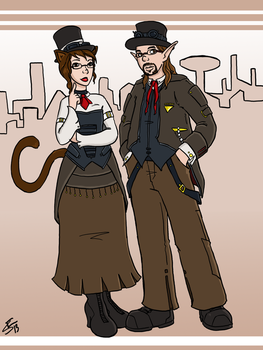 Commission - Steampunk Linburger Couple by bloodyinkpen