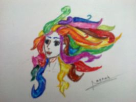 rainbow hair by amoonchan