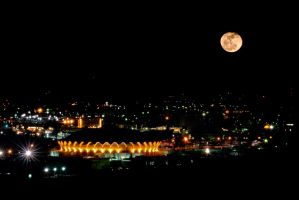 Rising Moon Over Morgantown by Bawwomick
