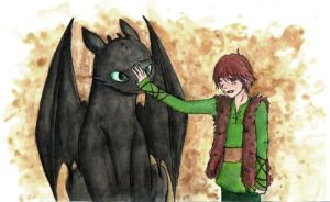 Toothless and Hic. How to train your dragon by AnninaCullen