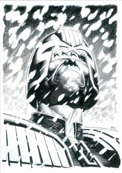 Dredd XMas Pinup Inks by TomRFoster