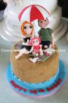 Family at the beach cake by zoesfancycakes