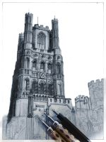 Drawing of Ely Cathedral WIP by ianmckendrick