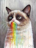 Grumpy Cat Tastes the Rainbow by Olechka01