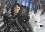 Jon Snow and Ghost by Pepowned