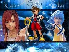 Kingdom hearts Sora Riku Kairi by LumenArtist
