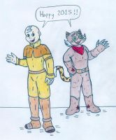 Happy New Year - Aang and El Tigre by Jose-Ramiro