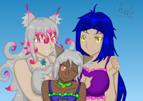 Cresent, Odette, and Sera: Photo Op! by whitestormclouds