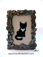 Heart Cats - Black cat cross stitch by caycowa