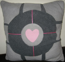 Companion Cube cushion cover by death-au