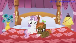 Button Mash and Sweetie Belle in Raritys bed by Phi1997