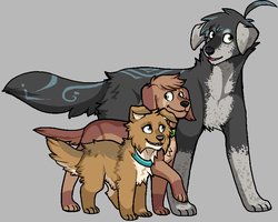 A mutt and his pups by Icarusis