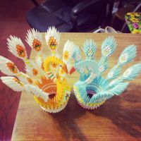 3D Origami: Peacocks Couple by chingu99