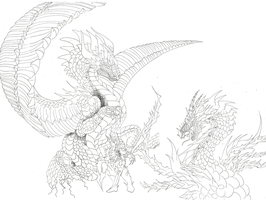 Zetafighter Commish WIP 1 Detailed Lineart by XRosewaterX