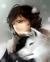 Jon Snow and Ghost by Laulaubi
