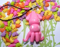 Pink Clay Squid Charm by funkypinkgal