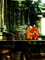 monk in angkor wat by teikjin666