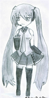 Hatsune Miku Sketch by AnimeDudePicz