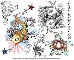 Koi Tattoo Design Flash Sheet by onksy