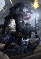 Captain America vs. Nazis by artlanzer