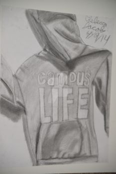 Campus Life Hoodie Draped Garment Drawing by Tumbles-Girl
