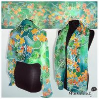 Silk scarf 'Nasturtium' - commission by MinkuLul