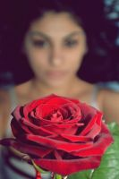 Woman with a rose by BiancaEnache