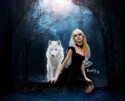 The Dark Lady And White Wolf by CreartisteA