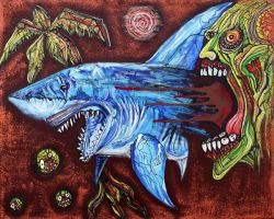 Zombie Eats Shark by barbosaart