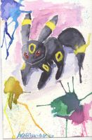 Umbreon water color by AkariLunaRico