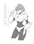 Jet Woman B/W by AtomicTiki