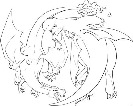 Charizard vs Dragonite -LINES- by TheRaineDrop
