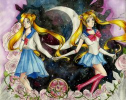 Usagi And Sailor Moon by MauroStrange