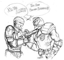 Robocop Vs Judge Dredd by onnzila
