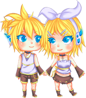 Kagamine Twins chibi by Veriito-chan