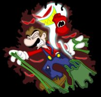 Mario attacked by ghosts by Duckboy