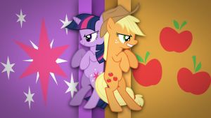 Applejack and Twilight Sparkle Wallpaper by Kockacukor9