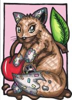 Waffle Cone Sundae Fox ACEO by Foxy-Sketches
