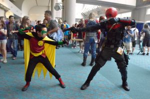 Robin vs. Red Hood at SDCC '14 by FloresFabrications