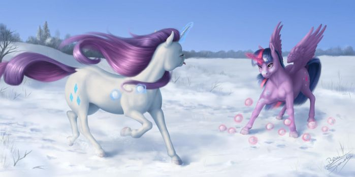A snowball fight by blueSpaceling