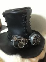 Steampunk Black Top Hat and Googles by battosai1976