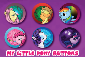 My Little Pony Mane Six Buttons by TeslaLollipop