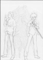 Ao No Exorcist - Rin and Suguro - grayscale by Tsuki-44
