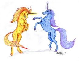 Unicorn fight by moonfeather