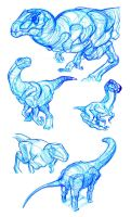 Drawing Exercise: Dino Studies by thomastapir