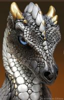 Silver Secret Keeper dragon, face by Reptangle