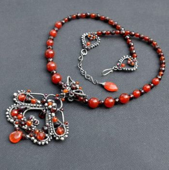 Rania - Sterling Silver Filigree necklace by Eire-handmade