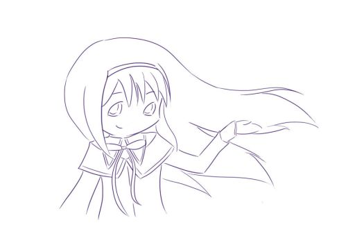 Happy Homura lineart 2 by jehssica13wonderland